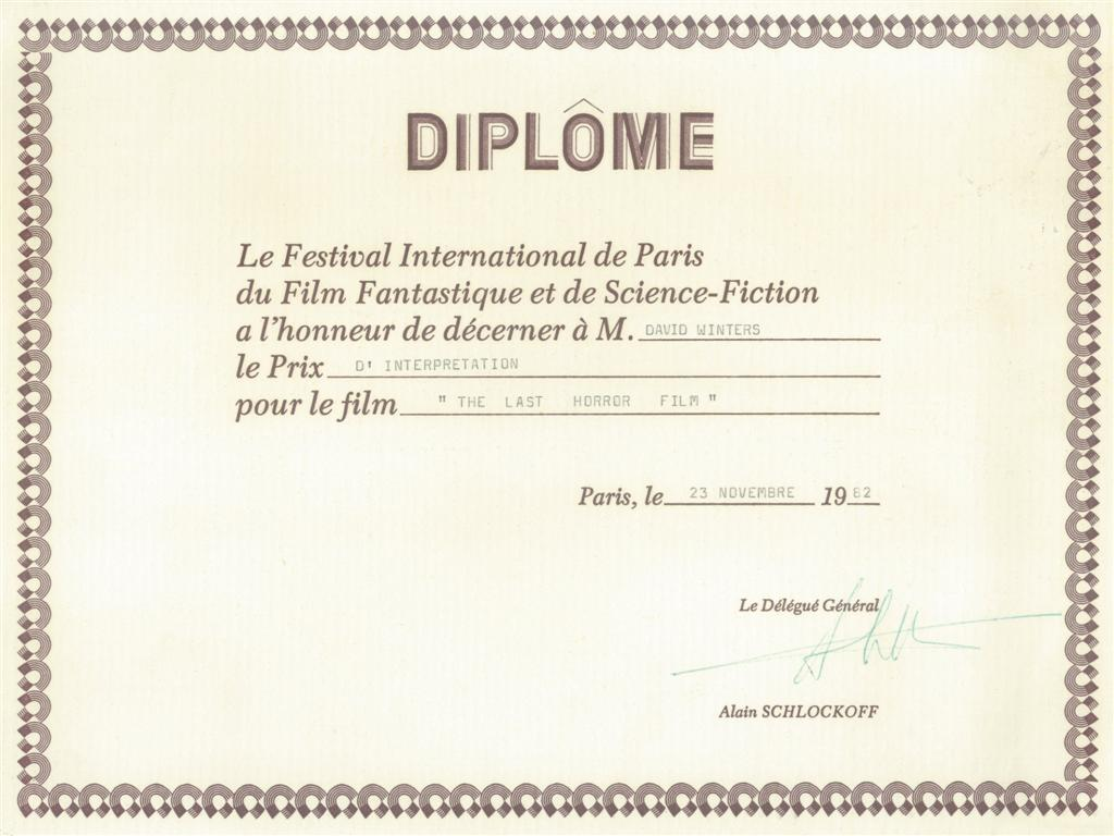 29. Paris Film Festival Award to David for Directing