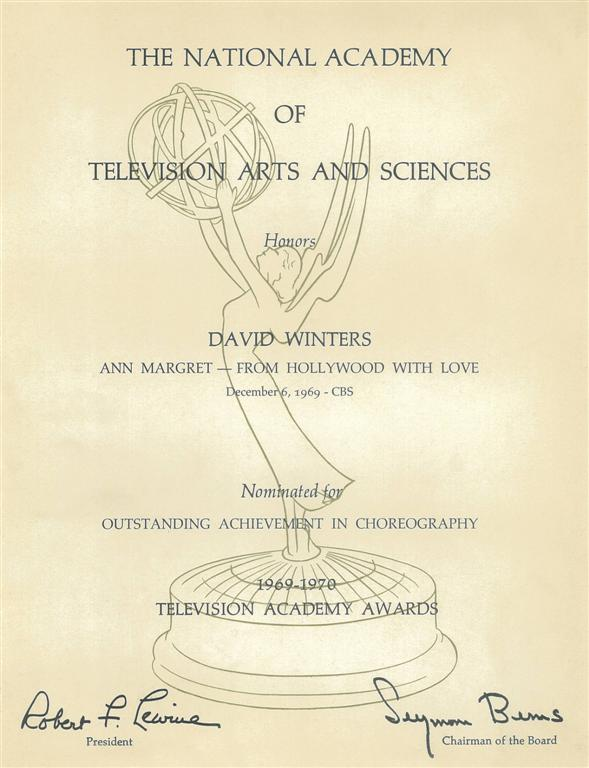 16. EMMY AWARD nomination Ann Margaret TV Specail_Directed Produced & Choreographed By David