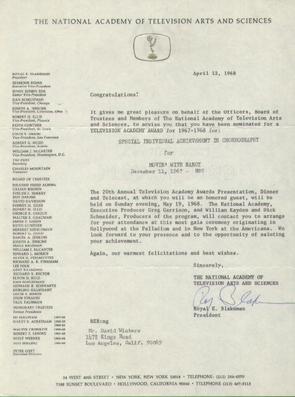 17. emmy letter to me from the comitee