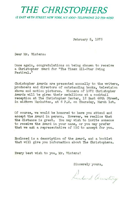 9. CHRISTOPHER Award Letter from Org to David